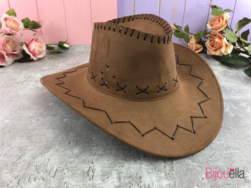 Ковбойская большая шляпа коричневый замш на Новый Год, карнавал, маскарад, вечеринку