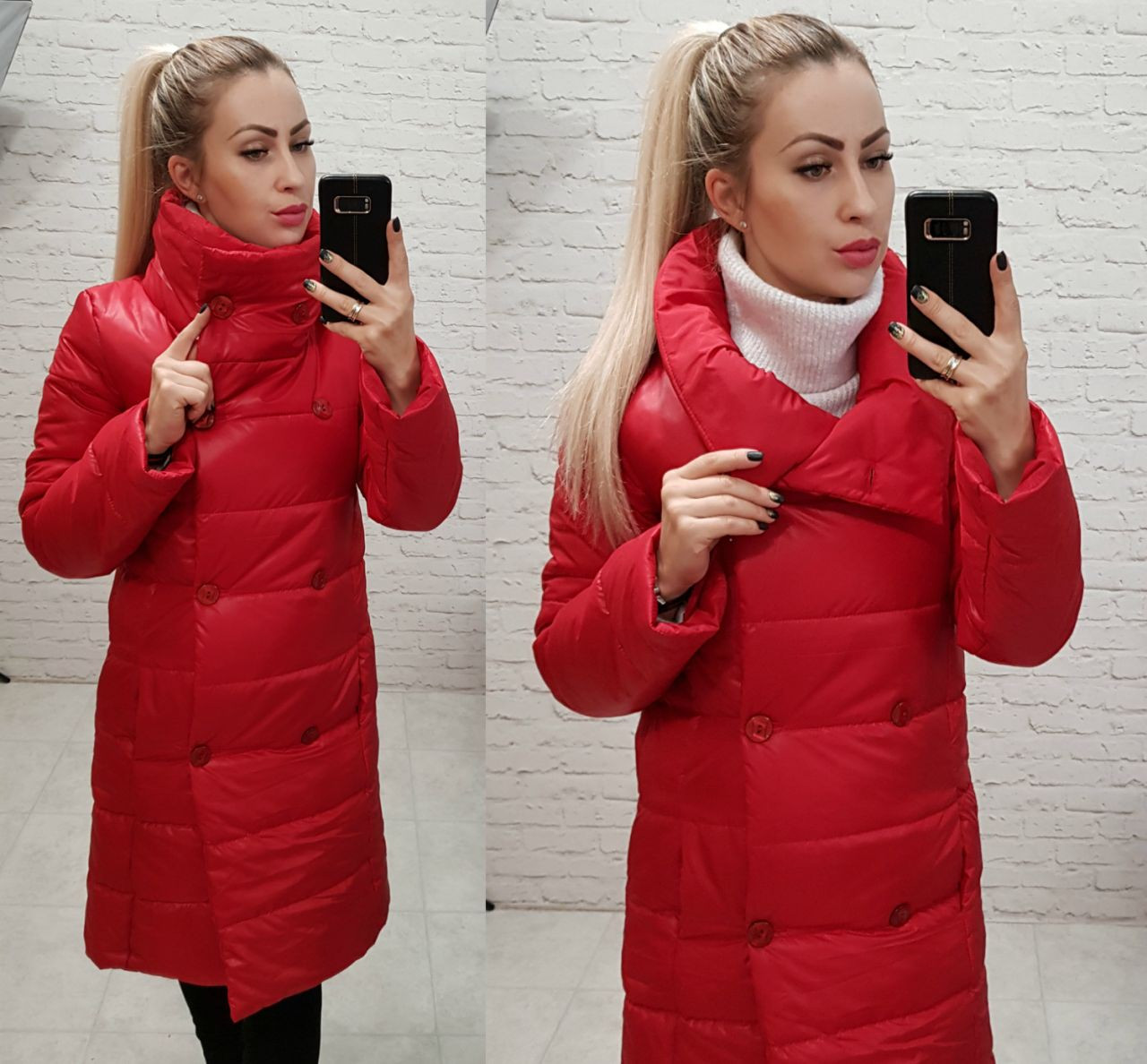Куртка пальто, модель 1002, цвет - красный