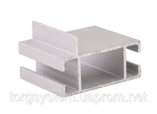 Профиль алюминиевый 2576 серебро соединяющей для витрин