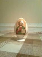 Пасхальное Яйцо малое с иконой Спасителя, фарфор, пасхальный подарок.