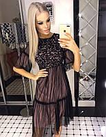 Шикарное платье свободного кроя из сетки с гипюром