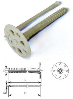 Дюбель для теплоизоляции 10х200/гвоздь пласт. 100шт/уп