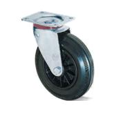 Колеса из черной резины с полипропиленовым диском. Нагрузка 50 - 205 кг. t экспл. -20 - +60С. Серия 12