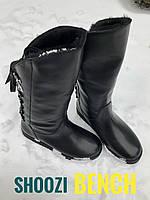 Черные кожаные женские сапоги