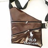 Барсетки на одно плечо кожвинил Polo (каштан)28*41см