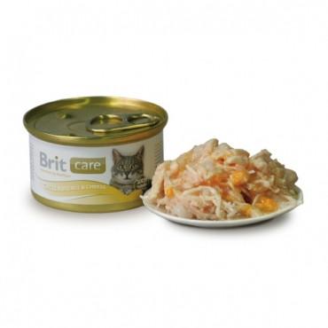 Консервы суперпремиум класса для кошек BRIT Care Куриная грудка и сыр 80г