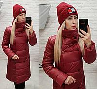 Куртка пальто, модель 1002, цвет - бордо