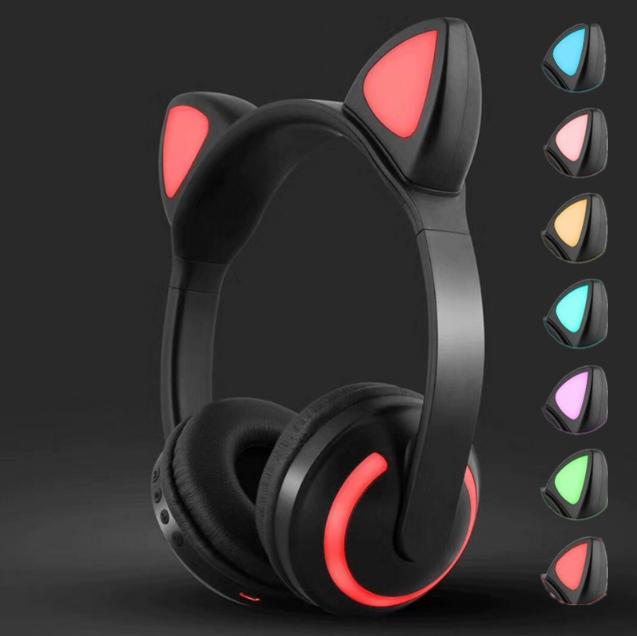 Bluetooth Наушники с светящимися КОШАЧЬИМИ УШКАМИ ZW-19  7 цветов в 1