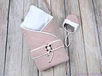 """Конверт-одеяло с шапочкой """"Путешественник"""", на трикотаже, розовый, фото 1"""