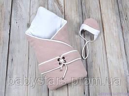 """Конверт-одеяло с шапочкой """"Путешественник"""", на трикотаже, розовый"""