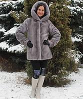 Полушубок из скандинавской норки цвета сапфир (вертикаотное расположение пластин) 75 см