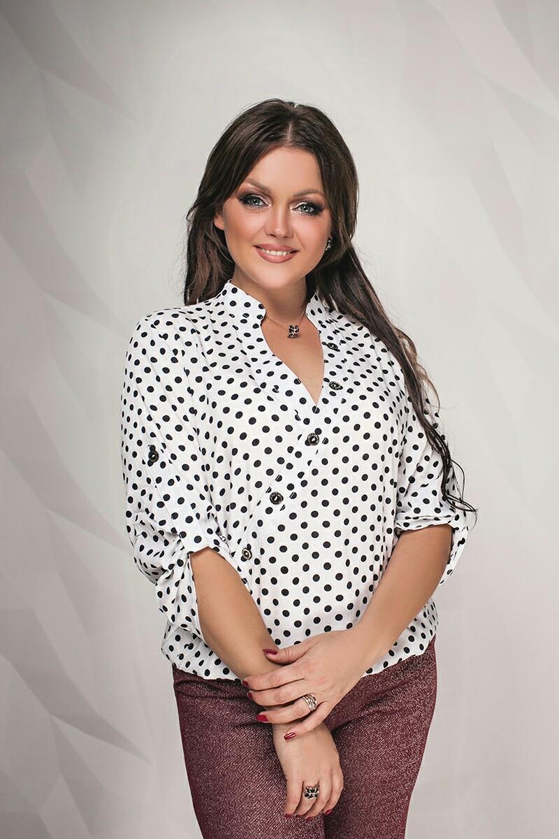 """Легакая женская блуза в горошек """"Adeli"""" с рукавом 3/4 (большие размеры)"""