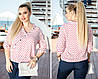 """Легакая женская блуза в горошек """"Adeli"""" с рукавом 3/4 (большие размеры), фото 4"""
