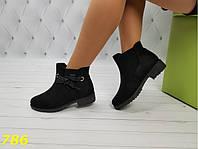 Ботинки зима на низком ходу с лентой черные, фото 1
