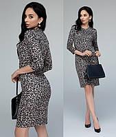 Леопардовое платье ангора женское теплоетрикотажное зимнее, беж.
