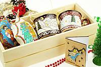 """Подарочный набор  """"Рождественский"""". Новогодние чашки, игрушки, открытка из дерева. + ПОДАРОК от магазина"""