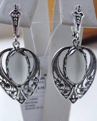 Крупные серебряные серьги с улекситом