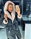 Женская куртка-Пальто с объемным капюшоном 18kr167, фото 4
