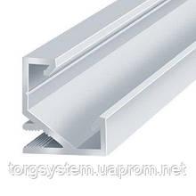 Алюмінієвий профіль для світлодіодної стрічки (LED) кутовий анодований