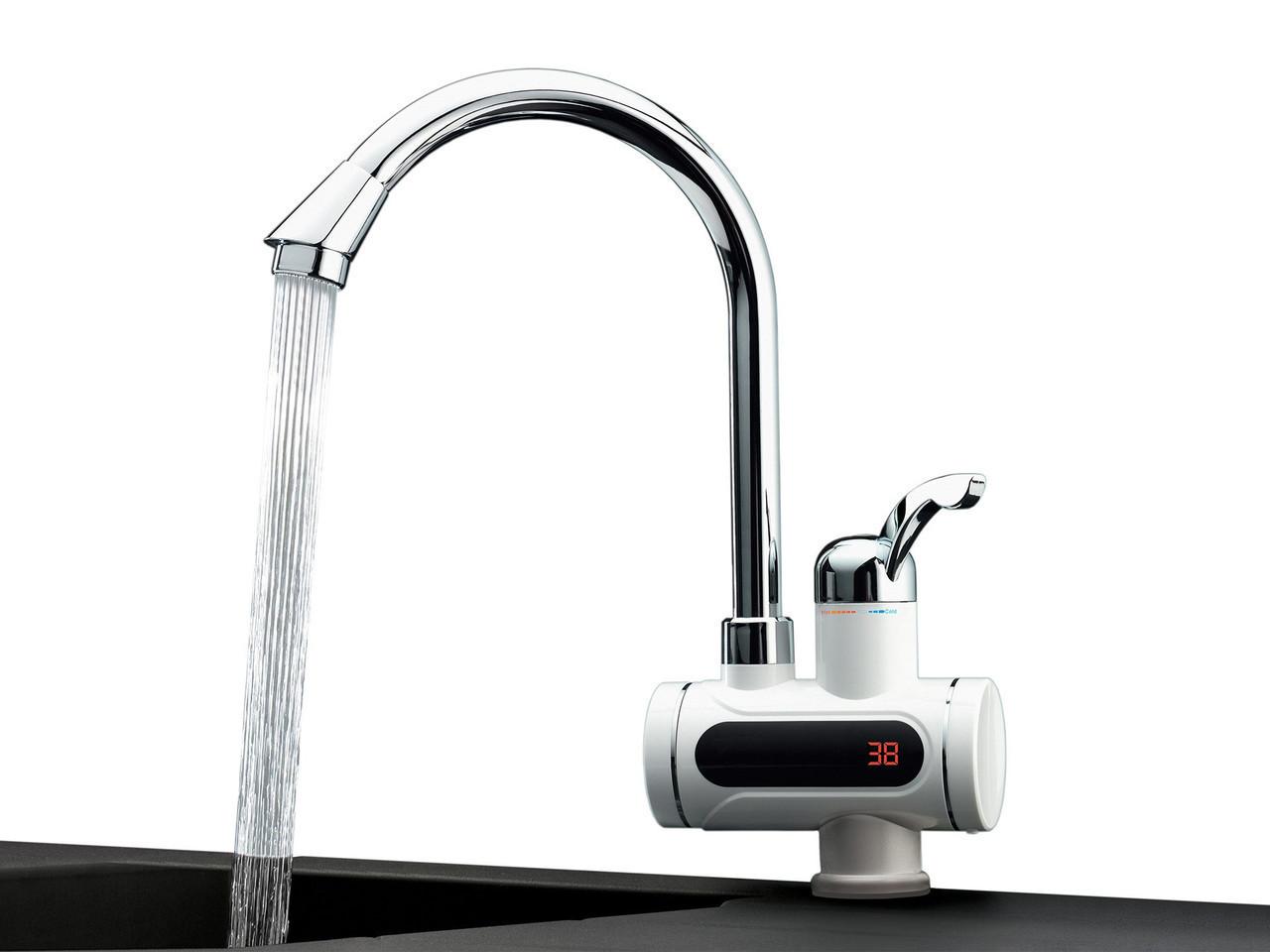 Проточний водонагрівач Delimano з екраном, кран миттєвого нагріву води, бойлер в стилі Делімано бокове