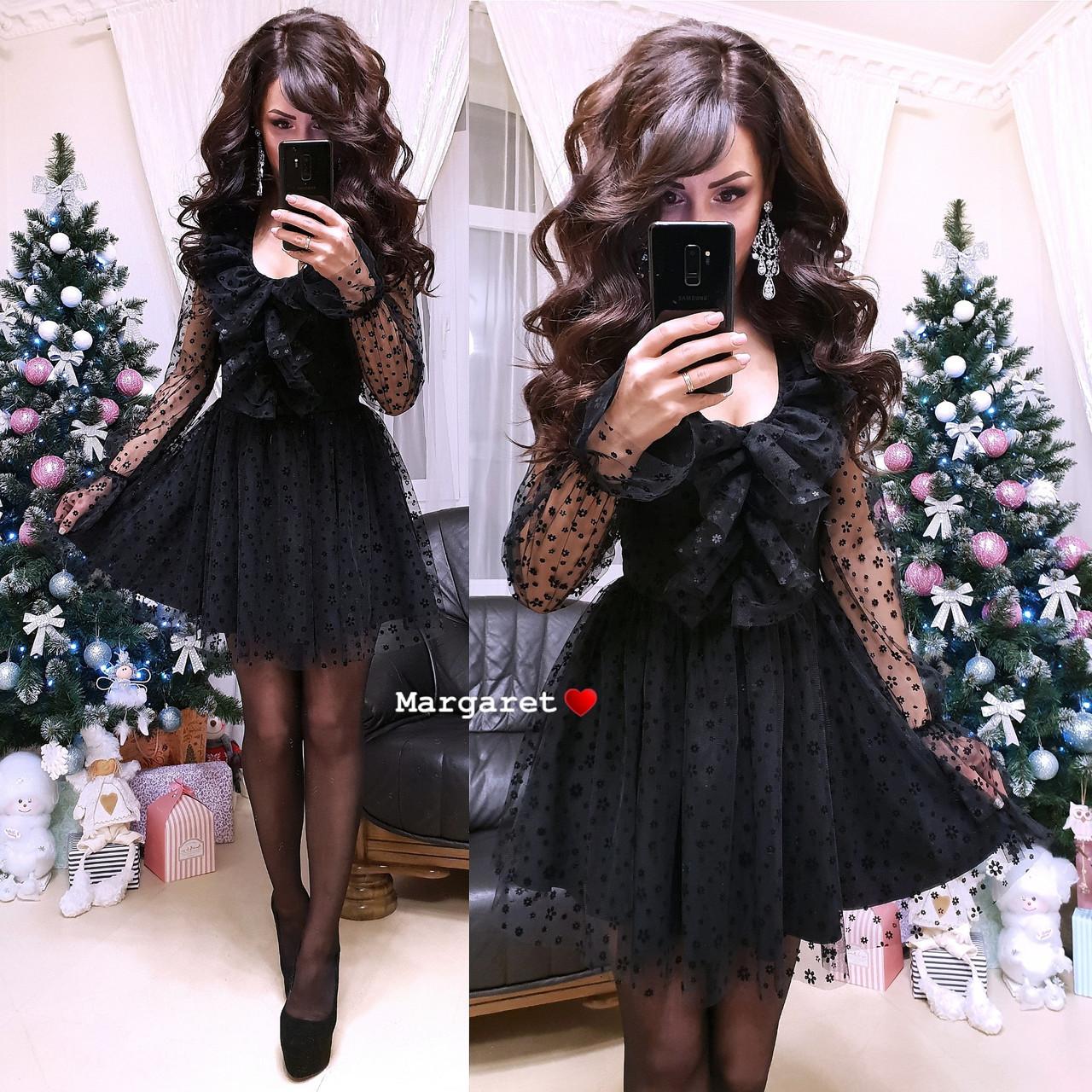 Платье с пышной юбкой и сеткой в цветочек 9py2171