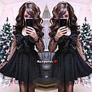 Платье с пышной юбкой и сеткой в цветочек 9py2171, фото 2