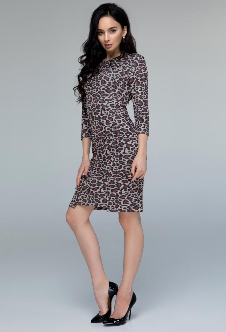 15473d691fd Леопардовое платье ангора женское теплое трикотажное зимнее