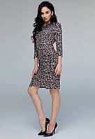 Леопардовое платье ангора женское теплоетрикотажное зимнее, терракот