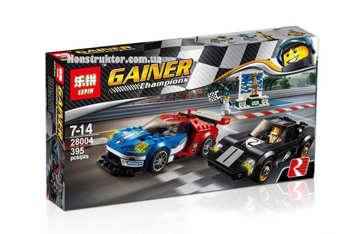 "Конструктор Lepin 28004 ""Автомобиль Ford GT 2016 и Ford GT40 1966"" 395 деталей. Аналог Lego 75881"