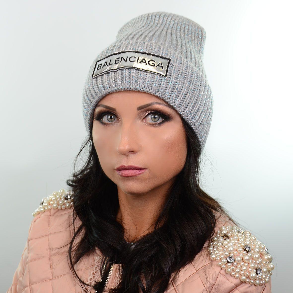 модная вязаная женская шапка с нашивкой Balanciaga 180581 свсерый