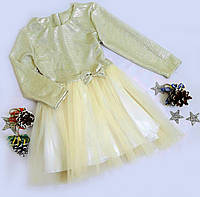 Платье нарядное Золушка, люрекс, размер 116-134, молочный блеск