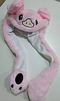Плюшевая шапка Кигуруми с двигающимися ушами (свинка)