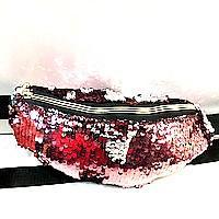 Сумка на пояс з блискітками і стразами (червоний+срібло)11*27см