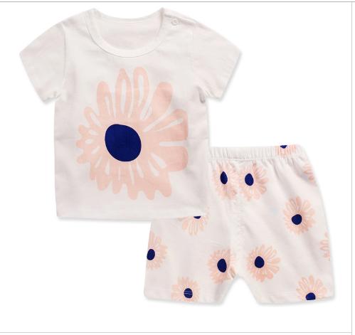 Пижама  футболка с короткими рукавами и шорты Linkcard  Ромашки рост 100 см белая+розовая 06141