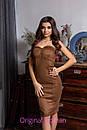 Замшевое платье без бретель с чашками 2py2193, фото 3