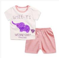 Пижама (футболка с короткими рукавами и шорты) Linkcard Слоник 90 см Белая с персиковым (06127)