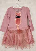 Нарядное платье на девочку Кошечка, размер 98-116, пудра