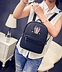 Рюкзак женский кожзам яркий с ушками Черный, фото 2