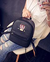 Рюкзак женский кожзам яркий с ушками Черный