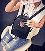 Рюкзак женский кожзам яркий с ушками Черный, фото 3