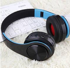 """Беспроводные складные bluetooth стерео наушники fm-радио micro SD """"LPT-660"""" черно-синие"""