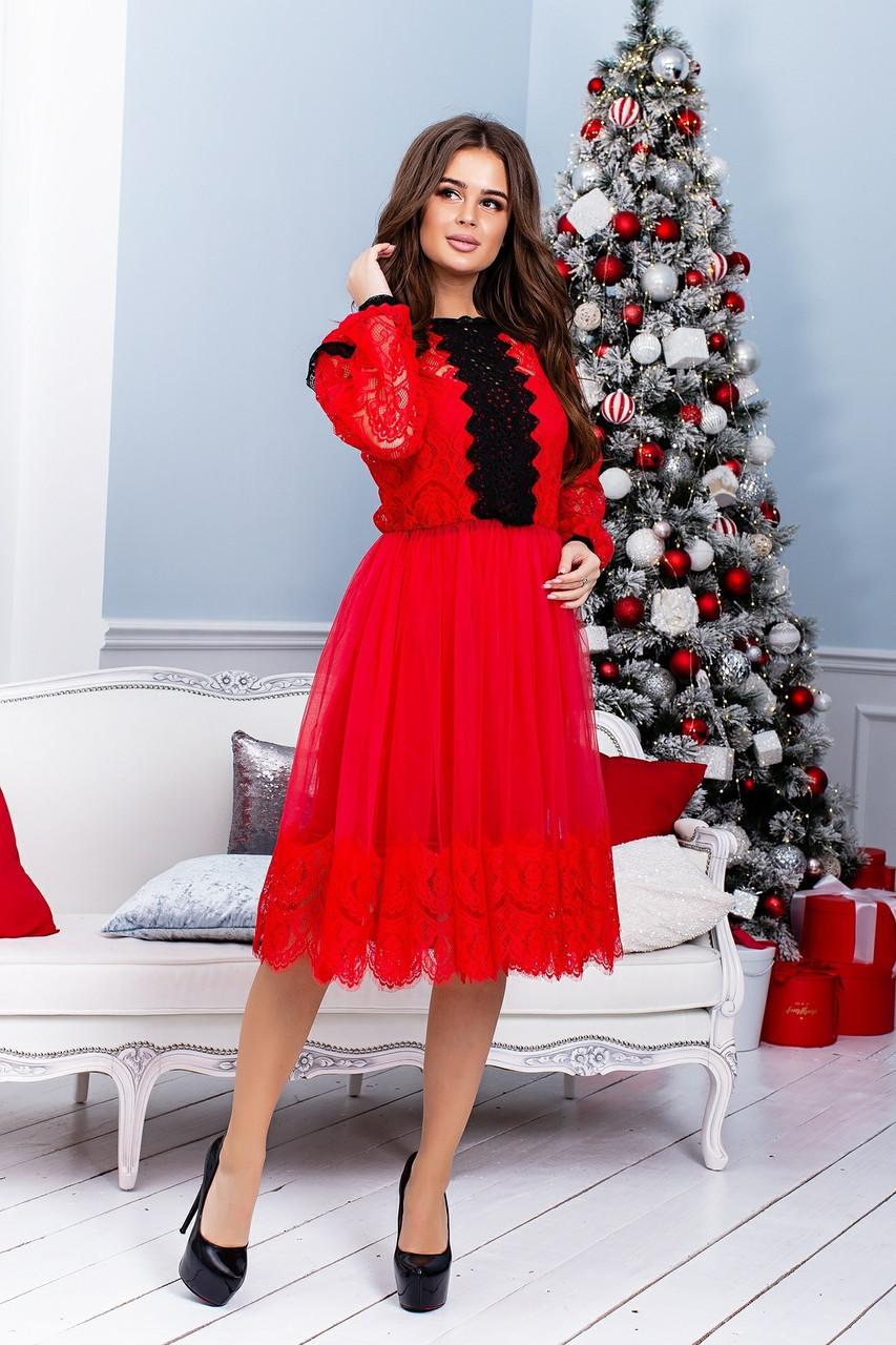 Платье с сеткой и гипюром в больших размерах 38ba1212