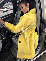 Норковая  шуба с английским воротом желтая, фото 1