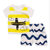 Пижама (футболка с короткими рукавами и шорты) Linkcard Самолет 100 см Белая с желтым (06138)