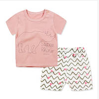 Пижама  футболка и шорты Linkcard  Носорог рост 100 см розовая 06131