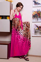 Сарафан женский летний длинный в пол, сарафан малинового цвета микромасло, сарафан с открытой спинкой