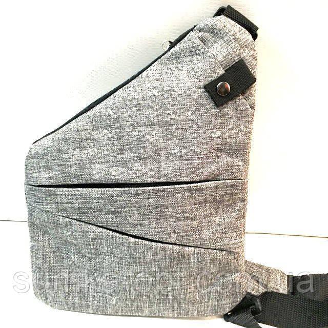 Барсетки на одне плече текстиль (сірий)24*32см