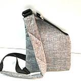 Барсетки на одне плече текстиль (сірий)24*32см, фото 4