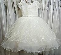 6.148 Блестящее кремовое нарядное детское платье с вышивкой на 5-7 лет