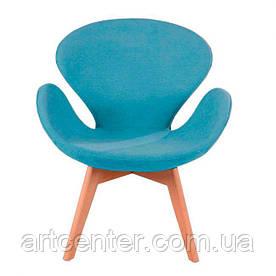 Крісло для ресторану, дизайнерське крісло, крісло для відвідувачів (СВАН Вуд Армз БЛАКИТНИЙ)